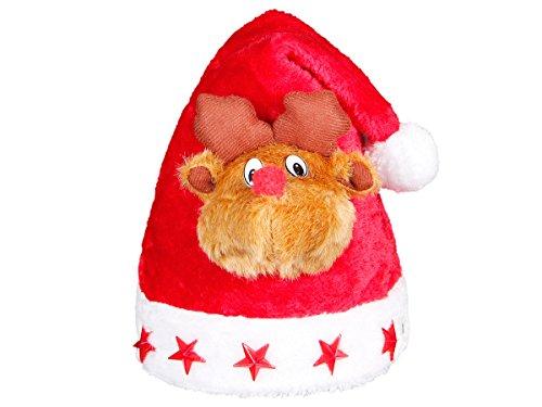 Weihnachtsmütze Nikolausmütze Elch (wm-47a) - liebevolles Design, Elchmütze 3D mit Blinksternen