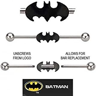 playful piercings Batman Bat Man Black Bat Surgical Steel Official Licensed DC Comics Industrial Barbell Earring 1 1/2