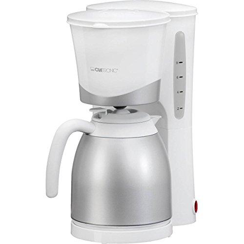 Clatronic KA 3327 Weiss Cafetera de Goteo con Jarra Termo, Capacidad 8-10 Tazas 1 litro, Blanca Plata, 870W, 870 W, 10 Cups,...