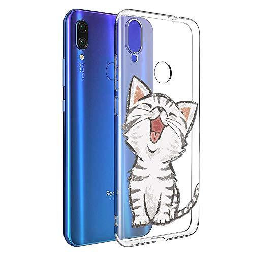 ZhuoFan Funda Xiaomi Redmi Note 7, Cárcasa Silicona Transparente con Dibujos Diseño Suave TPU Antigolpes de Protector Piel Case Cover Bumper Fundas para Movil Xiao mi Redmi Note7, Gato Sonriente