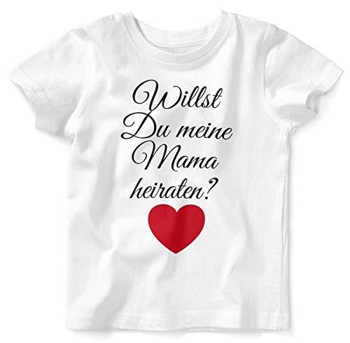 Mikalino Baby/Kinder T-Shirt mit Spruch für Jungen Mädchen Unisex Kurzarm Willst Du Meine Mama heiraten ? | handbedruckt in Deutschland | Handmade with Love, Farbe:Weiss, Grösse:92/98