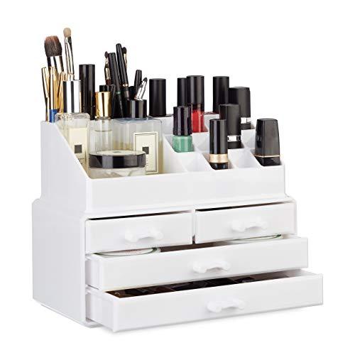 Relaxdays Organizador Maquillaje de 4 Cajones,...