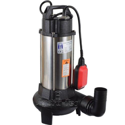 Agora-Tec® AT- Baupumpe-C 1100W (mit Schneidwerk) Tauchpumpe für Schmutzwasser, Abwasser, für Fäkalien und organische Feststoffe mit Schwimmerschalter und max: 0,9 bar und max: 16000l/h