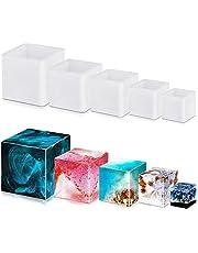 FineGood - Moldes cuadrados de resina de silione, moldes de resina epoxi, moldes de resina de silicona para tazas, velas y jabón