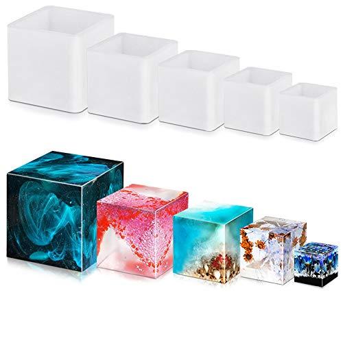 FineGood - Stampo quadrato in resina epossidica, 5 pezzi, per stampi in resina epossidica fai da te in resina siliconica, per tazza di candela e sapone