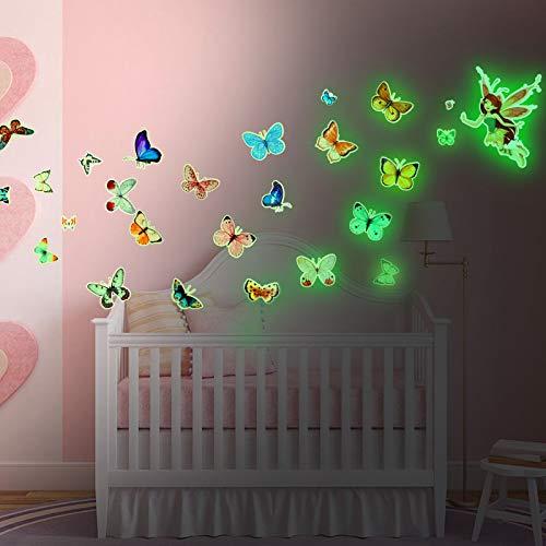 HOWAF Schmetterling Wandtattoo Kinderzimmer, Leuchtend Wandaufkleber für Mädchen Wohnzimmer Deko, Prinzessin Schmetterling Wandsticker für Schlafzimmer Babyzimmer Junge Kindertapete Leuchtsticker