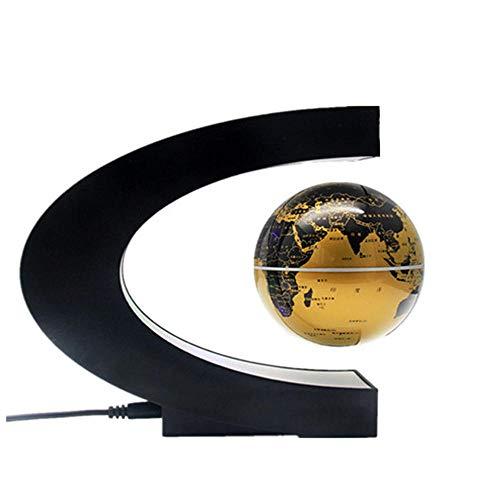 WXXW 3.5 Pulgadas Bola Mundo Magnetica con Luces Color LED,Amarillo Globo Levitacion para San Valentín Regalos Decoración Creativa