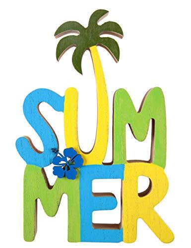 Deko-Schirftzug Summer aus Holz grün,gelb,blau mit Palme Dekoartikel Sommer