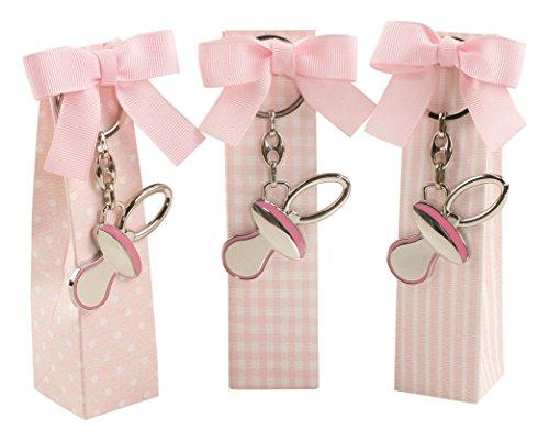 Mopec sleutelhanger in fopspeen in roze bedrukte doosjes met 5 snoepjes, 3 stuks, metaal, zilver, 3,70 x 3,50 x 14,20 cm