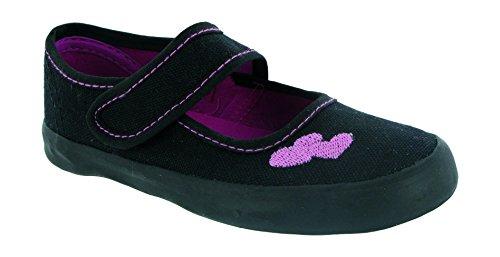 Mirak Girls Bar Velcro Heart Embroidered Plimsoll Sneaker Shoe Black