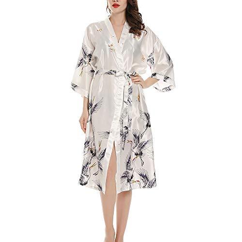 Yonghong Damen Morgenmantel Bademantel Satin Sexy Kimono mit Gürtel Nachthemd für Braut White-M