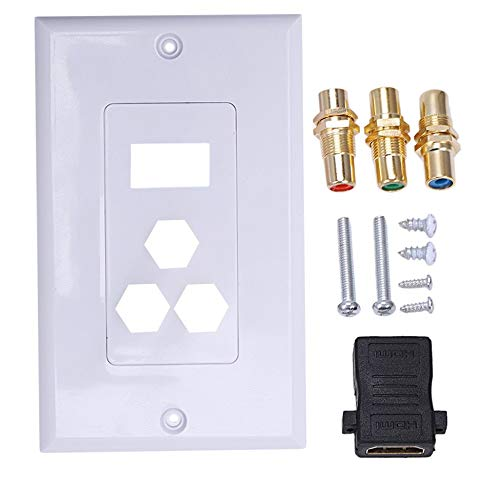 HD 1080 TV Cable Wall Plate - Dual Port Hdmi Color Difference Component 3Rca Wall Plate RCA Component Composite Video Audio Outlet Cover Panel Moun - White