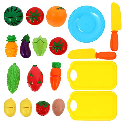 TOYANDONA 2 Juegos de Comida para Niños Corte de Cocina Comida de Juguete de Simulación para Niños Pequeños Juguetes de Cocina para Niñas Frutas Verduras Juego de Corte para Niños