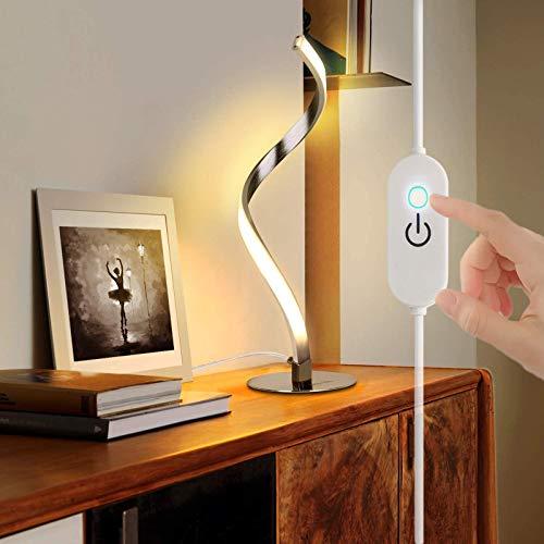VOMI Lámpara de Mesa LED Regulable para Dormitorio con Cambio de Color 6W Espiral Lámpara Escritorio con Interruptor Táctil Luz Lectura Cable 1,5m Lámpara Noche para Habitación Infantil