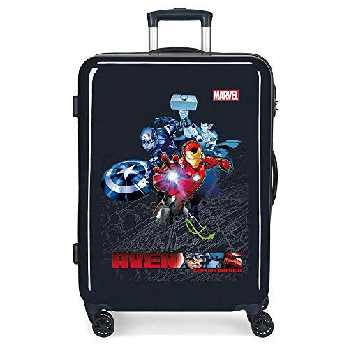 Marvel Los Vengadores Avengers Armour Up Maleta Mediana Azul 48x68x26 cms Rígida ABS Cierre combinación 70L 3,7Kgs 4 Ruedas Dobles