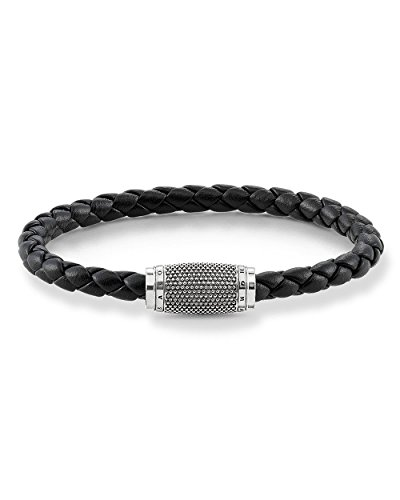 Thomas Sabo GmbH Men Leather Strap Black Kathmandu Leather Bracelet Nappa Leather, 925 Sterling Silver, Blackened UB0012-823-11