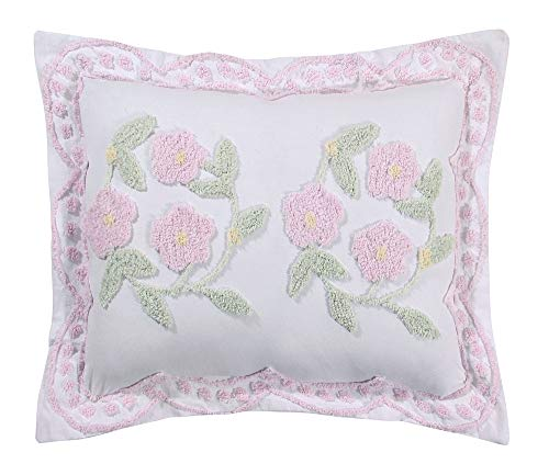 Better Trends Bloomfield Collection is super soft and light weight in Floral Design 100% Cotton Tufted Unique Luxurious Machine Washable Tumble Dry, Standard Sham, Rose