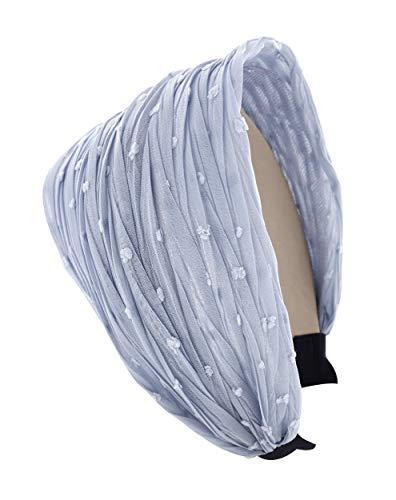 axy HR36 Breite Haarreif mit Plissierte Stoff - Vintage - Wunderschön Stirnband Haarschmuck (Graublau)