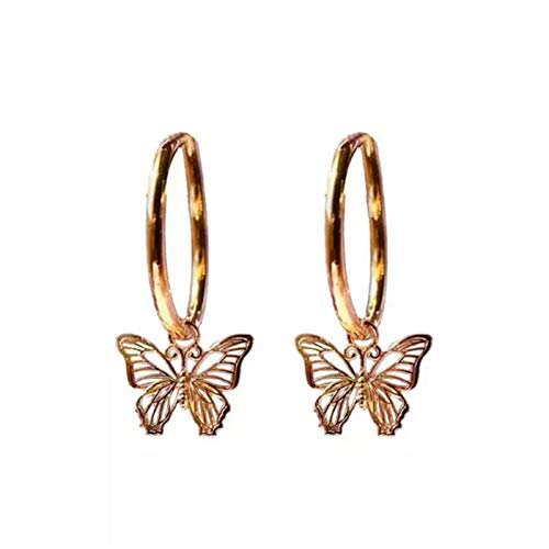 Gold Silver Color Hollow Butterfly Stud Earrings Simple Temperament Personality Small Women's Earrings Party Jewelry
