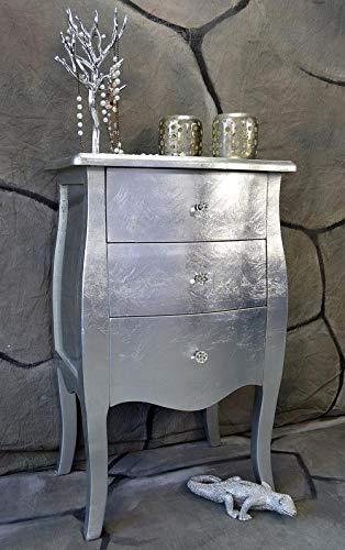 Livitat® Kommode mit 3 Schubladen H76 cm Pomp Silber barock antik pompös Landhaus LV2024