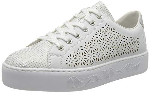 Rieker Damen Frühjahr/Sommer N3749 Sneaker, Weiß (Weiss-Silber/Weiss/Ice 80), 40 EU