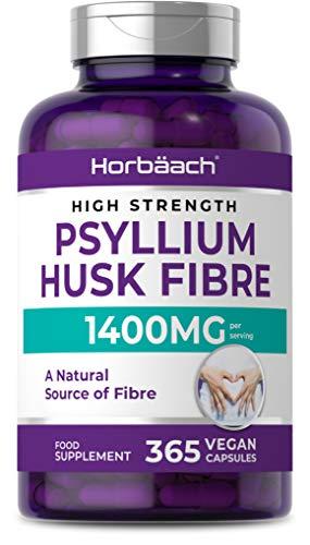 Psyllium Husk 1400mg | 365 Vegan Capsules | Plantago Ovata Seeds Supplement | Non-GMO, Gluten Free
