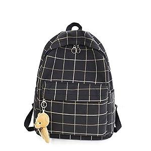 41jn6Y S9vL. SS300  - Mochila de Lona de Tela Escocesa Fresca pequeña Mochila de Estudiante Mochila de Viaje de Gran Capacidad Informal…
