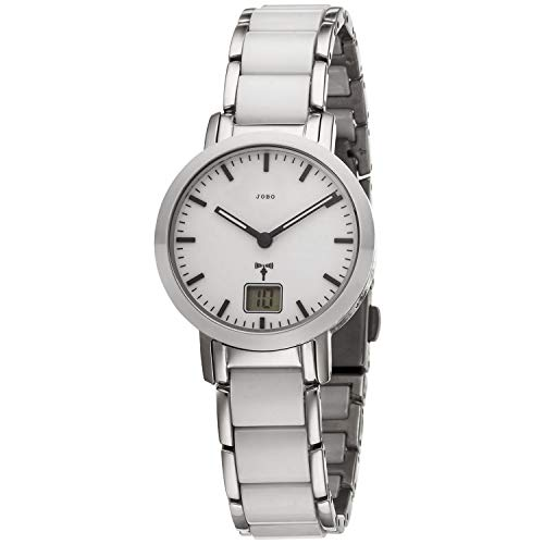 Damen Armbanduhr - Funkuhr - Gehäuse, Band und Boden Edelstahl - Keramik weiß