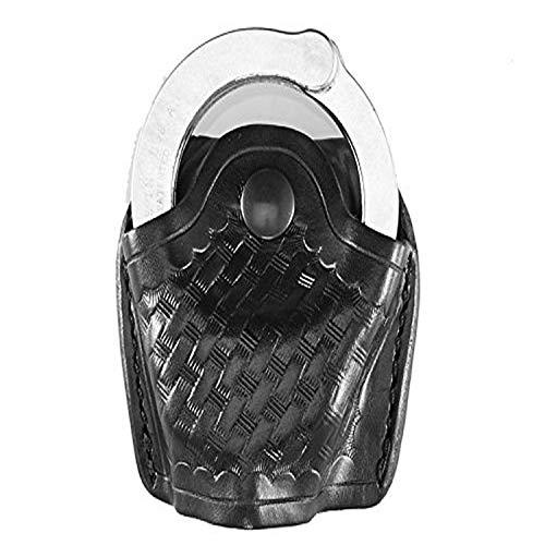 Aker Leather 506 Handcuff Case, Open Top, Black, Basketweave