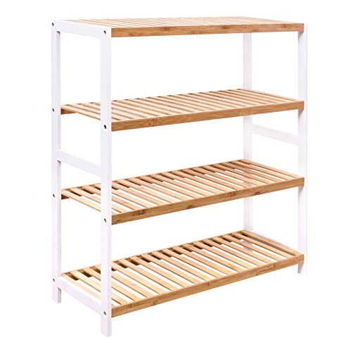 Woodluv Schuhregal aus natürlichem Bambus, 4 Etagen, für Flur, Schlafzimmer, Badezimmer, Wohnzimmer, Organizer für 16 Paar Schuhe