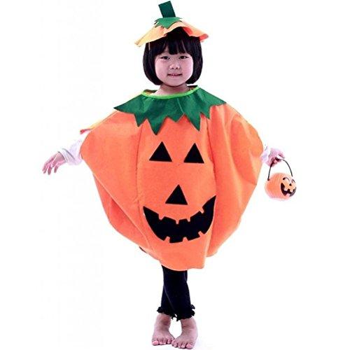 Tinksky Lustige Kinder Halloween Laterne Gesicht Kürbis Kostüm in Non-Woven Shirt Kinderkleidung mit komischer Hut (Orange)