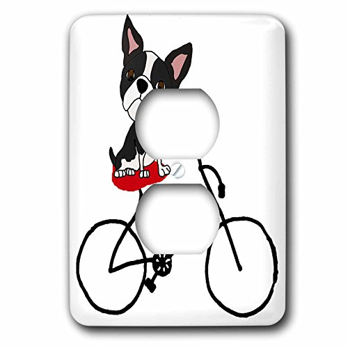 3dRose (lsp_260970_6) 2 Plug Outlet Cover Funny Cute Boston Terrier Puppy Dog Riding Bicycle