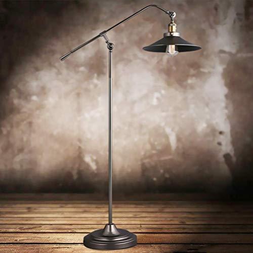 ACHNC LED Lámpara de Pie Salon Vintage, E27 Negro Lámparas de Pie Retro Industrial Con Pantalla Ajustable, Lámpara de Suelo Nostálgica Para Sala de Estar, Dormitorio, Oficina