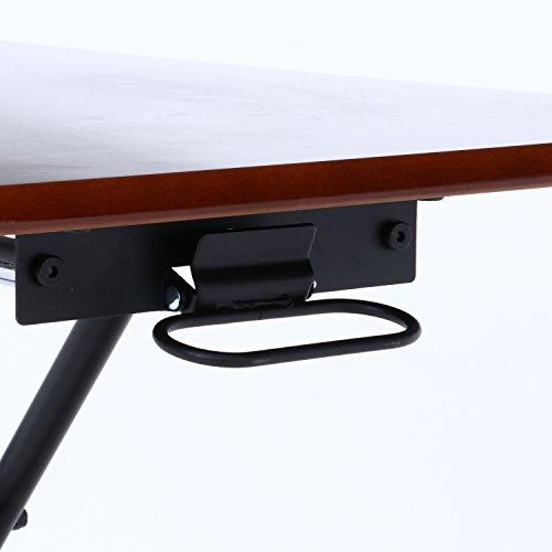 不二貿易昇降テーブル幅90cmブラウンガス圧無段階調整完成品74710