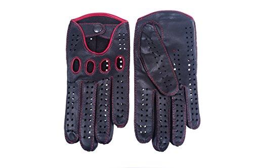 Hungant Herren Handschuhe zum Autofahren Leder Lammleder Schwarz Rot (8, Schwarz)
