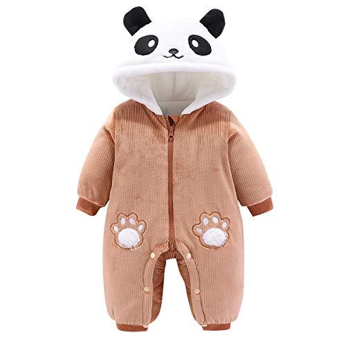 Bebé Niño Niña Traje de Nieve Panda Forma Térmica Abrigo de Invierno Manga Larga Niño Niña Romper Ropa Chaqueta a Prueba de Viento Mono