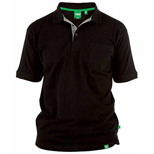 Duke - Camiseta Polo de piqué Modelo D555 Grant en Talla Grande para Hombre (5XL) (Negro)