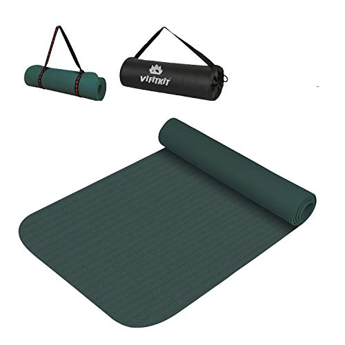 VIFITKIT Yoga mat with Free Bag & Carrying Strap for Women 6mm with Anti Slip and Workout for Gym and Home with high Cushioning for Men & Women (Made in India) (Army Green, 6mm)