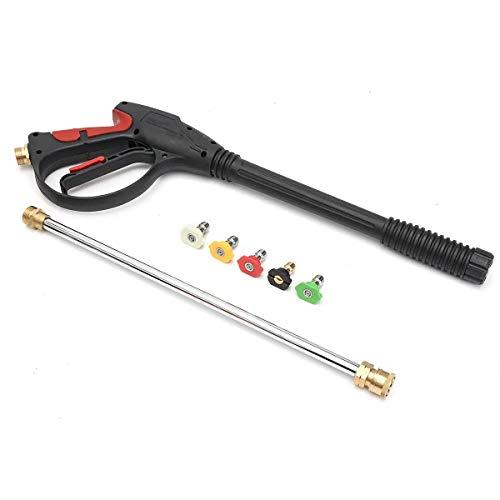 Power Washer Hogedrukreiniger voor aan de muur, autoreiniging, lange wapen, hogedrukreiniger, set elektrisch pistool, natuur/Y, 5 sproeiers, 4000 psi, voor het wassen van de auto, tuinirrigatie, wind