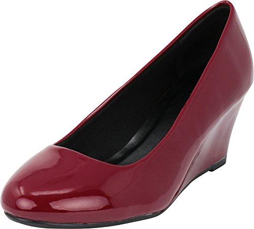 Cambridge Select Women's Classic Slip On Ballet Mid Wedge Heel Pump (7 B(M) US, Wine Patent)