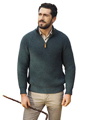 Aran Crafts Men's Fisherman Knit Wool Ribbed Half Zipped Sweater (X761-MED-PCOK)