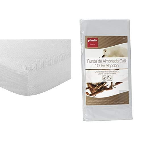 Pikolin Home - Protector De Colchón Rizo Antialérgico + - Funda De Almohada Cutí, 100% Algodón Satén, 40X135Cm (Todas Las Medidas)