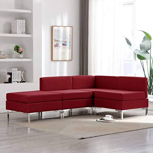 Goliraya - Juego de 3 sofás modulares de esquina, moderno, de tejido amarillo/rojo, para salón, sofá con chaise longue, sofá moderno de tela para salón moderno con 3 plazas