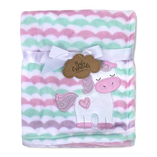 Baby Essentials - Cobija de forro polar para niños y niñas, Unicornio a rayas., Cuna