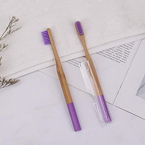 Holzzahnbürste Regenbogenfarbe Bambuszahnbürste natürlich abbaubar umweltfreundlich Zahnbürste 12 Zahnbürste lila
