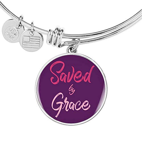 Express Your Love Gifts Christian Saved by Grace Circle Bangle - Pulsera de acero inoxidable y oro de 18 quilates