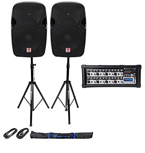 "(2) Rockville 12"" 2400 Watt DJ PA Speakers+Stands+Cables+Bag+Bluetooth Mixer"