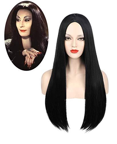 Perücke Schwarz Damen für Morticia Addams Kostüm Lang Glatt Perücken Natürliche Synthetische Peruecke Tägliche Party Cosplay Wig 012