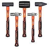 HORUSDY 5-Piece Hammer Set, 16oz Ball Pain Hammer | 32oz Ball Pain Hammer | 32oz Rubber Ma...