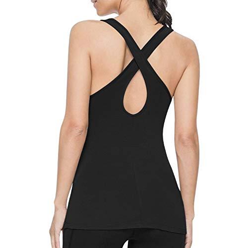 LASLULU Seamless Tank Tops for Women Sexy Backless Yoga Workout Shirts Cross Back Camisole Racerback Sports Athletic Tank Tops(Black Medium)